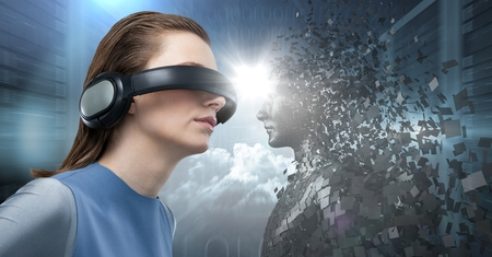 Digital composite of 3D black male AI facing woman in VR with flare in between against servers Stock Photo - 76859375