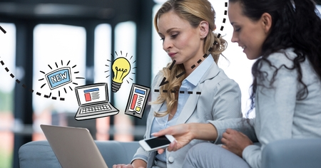 smolder: Digital composite of Digital composite image of businesswomen with technologies and graphics Stock Photo