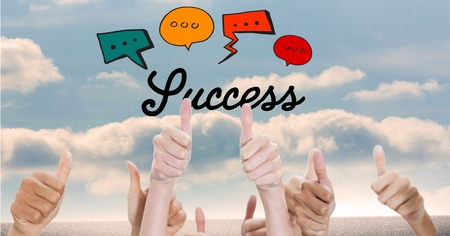 floorboards: Digital composite of Success text with speech bubbles over thumbs up gestures