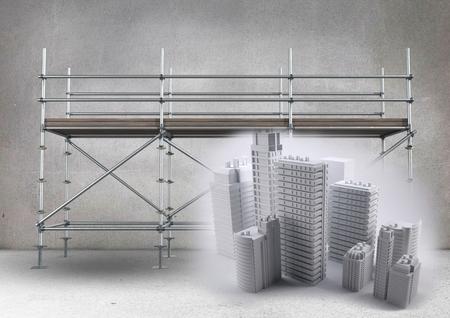 metal grate: Digital composite of Buildings in front of scaffolding in grey room