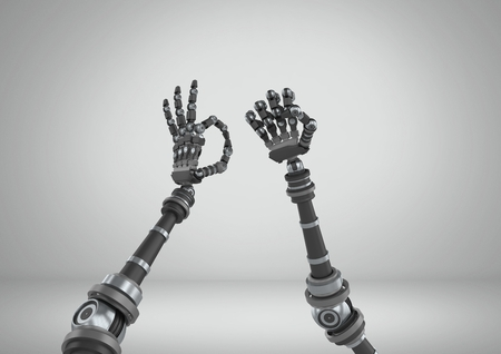 Digital composite of Robot hands stretching wonky with grey background