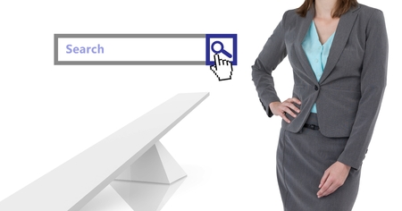 Digital composite of Woman standing next to Search Bar with white abstract structures background