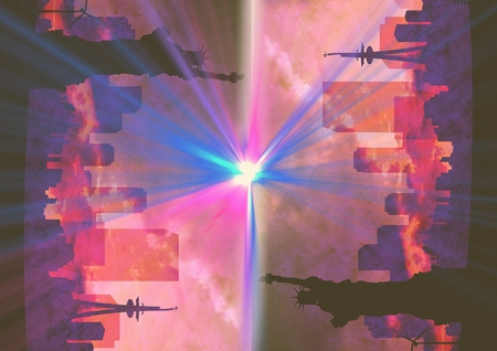 ny: Digital composite of up side down city. NY with flares. Pink Stock Photo