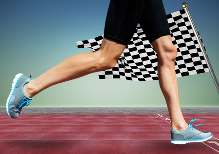 scrolling: Digital composite of Runner legs on track against blue green background and checkered flag