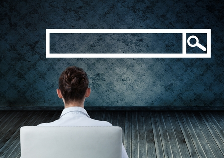 flooring: Digital composite of Woman seated looking at Search Bar with room background Stock Photo