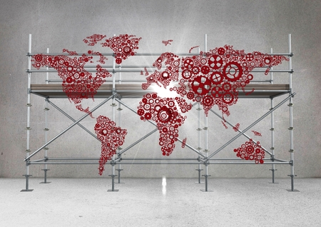metal grate: Digital composite of Red map and flare against scaffolding in grey room