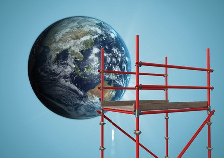 Digital composite of Globe next to scaffolding against blue background