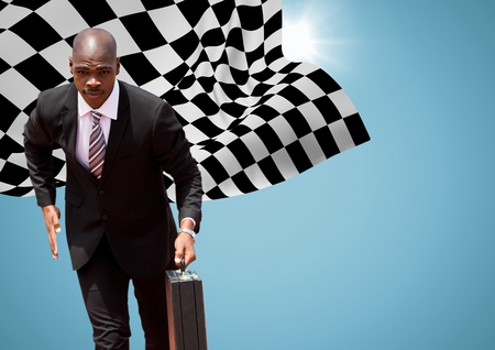 Digital composite of Business man running with briefcase against blue background with flare and checkered flag