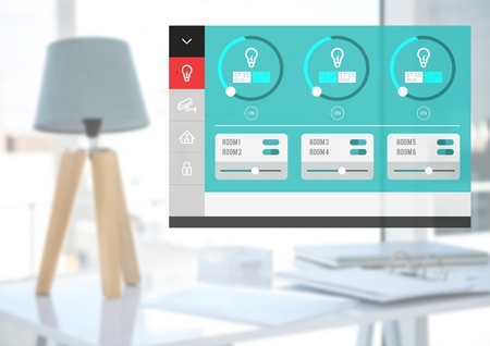 Digital composite of Home automation system lighting App Interface