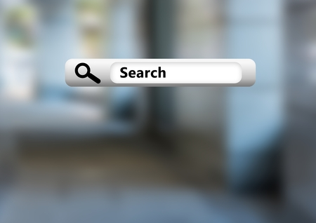 Digital composite of Search Bar with blurry street background Stock Photo
