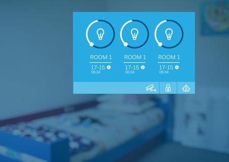 Digital composite of Home automation system lights App Interface Stock Photo