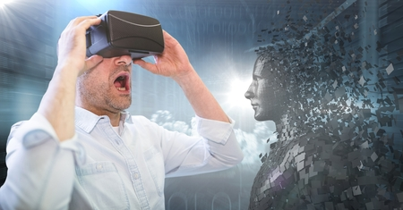 Digital composite of 3D black male AI and man in VR with mouth open against servers and flares