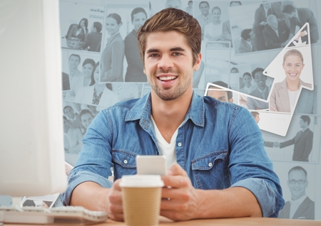 Digital composite of Man at computer with coffee against images of business people and arrow