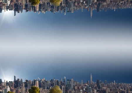 Digital composite of up side down city.  sky background Stock Photo