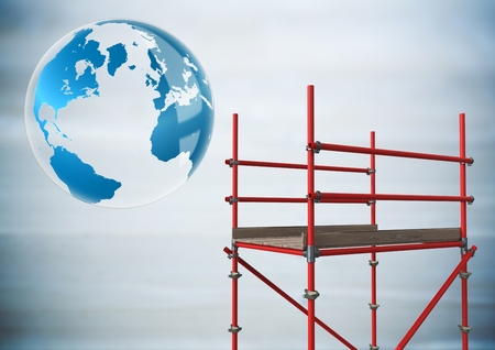 Digital composite of Globe next to scaffolding in blurry grey wood panel