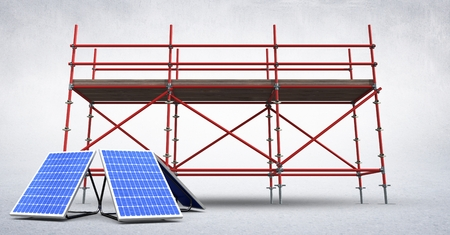 Digital composite of 3D solar panels against scaffolding in white room Stock Photo