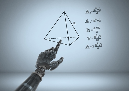Digital composite of Android hand pointing at equations graphic drawings