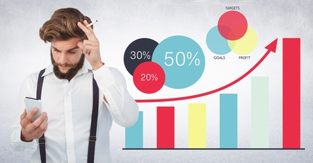 statics: Digital composite of Man in suspenders with phone and cigarette against graphs and white wall Stock Photo