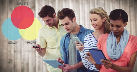 camaraderie: Digital composite of People in line with devices against colourful ven diagram and blurry wood panel Stock Photo