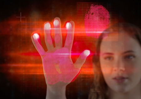 touch sensitive: Digital composite of young girl hand scan. red and pink Stock Photo