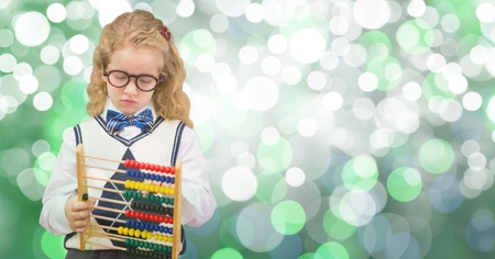 Digital composite of Girl holding abacus over bokeh