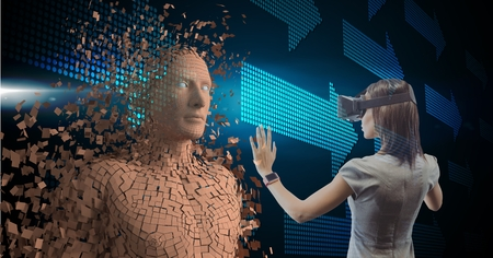 Digital composite of Businesswoman wearing VR glasses while touching 3d human on screen