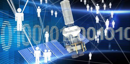 multimedia background: Digitally generated image of3d modern solar power satellite against binary code on digital screen Stock Photo