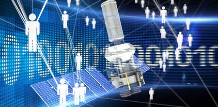 global communication: Digitally generated image of3d modern solar power satellite against binary code on digital screen