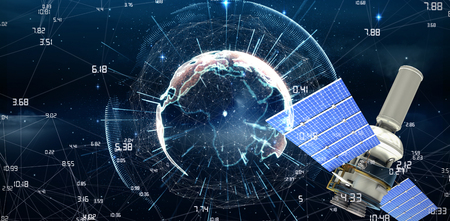 diagonal: 3d image of modern solar power satellite against white background against image of earth with different times Stock Photo