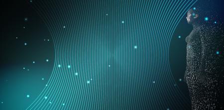 未来的なブラックとグリーンの背景ピクセルの 3 d 女性の完全な長さ 写真素材 - 78596612