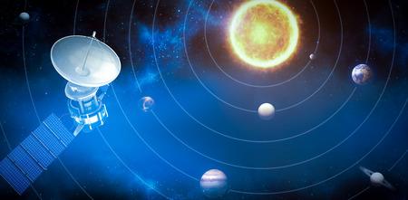 Immagine 3d del satellite solare blu contro l'immagine grafica dei pianeti e del sole Archivio Fotografico - 78596615