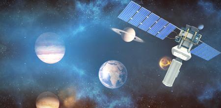 Immagine di vettore del satellite solare moderno 3d contro l'immagine composita dei pianeti sopra il sole Archivio Fotografico - 78596624