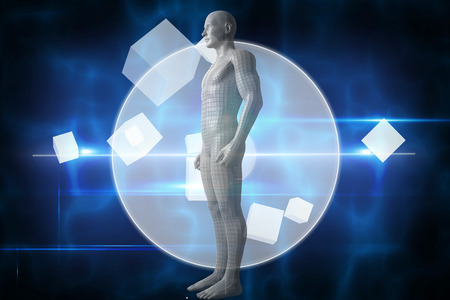 Full length of digital gray 3d man against blue technology design with circle Stock Photo
