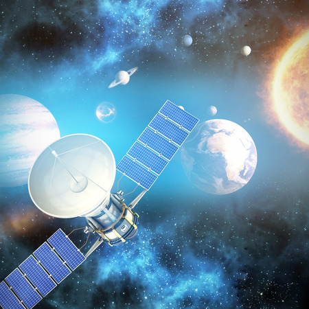 medical technology: Digitally generated image of3d solar satellite against graphic image of various planets with sun Stock Photo