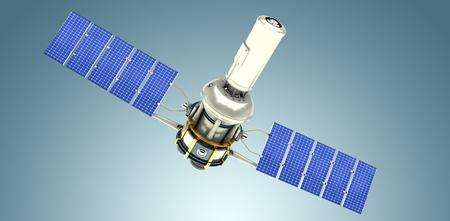 3d image of modern solar satellite against grey vignette Stock Photo