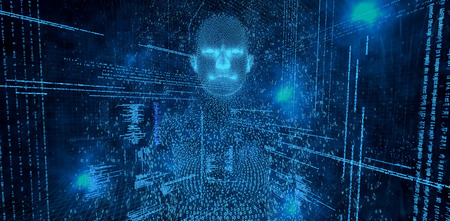 Digital composite pixelated 3d woman against illustration of virtual data Stock Photo