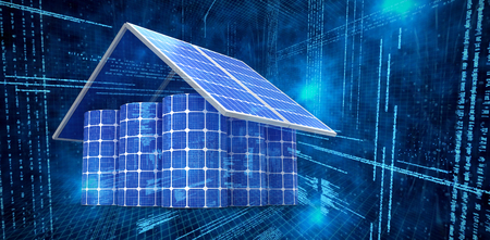 3d image of house made from solar panels and cells against illustration of virtual data Stock Photo