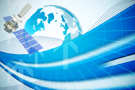 global communication: Vector image of3d modern solar satellite against global business graphic in blue