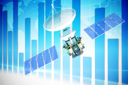 global communication: 3d image of blue solar power satellite against global business graphic in blue Stock Photo
