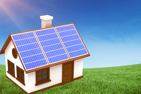 Digitally generated image of 3d house with solar panels against green field under blue sky Stock Photo