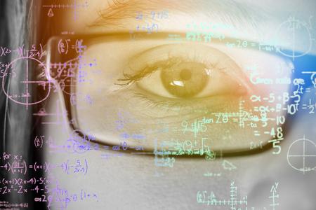 Formulas on black background against grey background