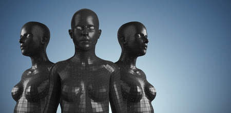 female likeness: Close-up of black 3d woman against purple vignette Stock Photo