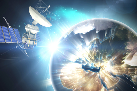 doctor tablet: 3d solar powered satellite against earth seen from space Stock Photo