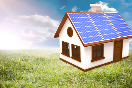 doctor tablet: 3d vector image of house with solar panels against sunny landscape Stock Photo