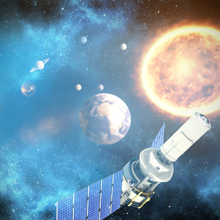 global communication: Low angle view of3d modern solar satellite against graphic image of solar system