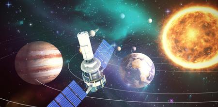 Vista dell'angolo alto del satellite solare moderno 3d contro l'immagine composita del sistema solare contro fondo bianco Archivio Fotografico - 78597783