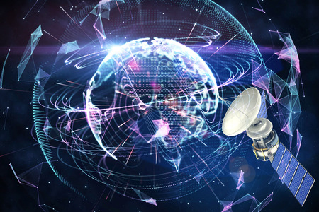 global communication: Low angle view of3d solar power satellite against global technology background in purple Stock Photo