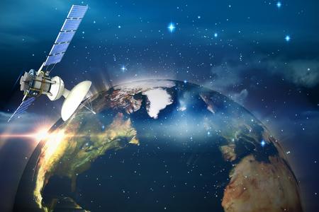 global communication: 3d illustration of solar satellite against glowing earth