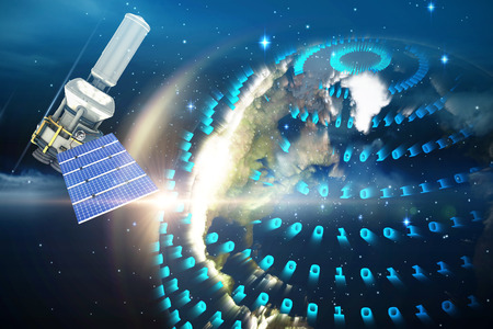 medical technology: 3d illustration of modern solar power satellite  against glowing earth Stock Photo