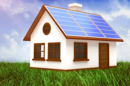 Digitally composite image of 3d house with solar panels against field of grass under blue sky